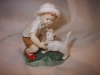 ROYAL WORCESTER FIGURE -  LITTLE BOY  WITH CAT -  SNOWY