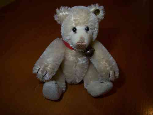 VINTAGE TINY STEIFF TEDDY BABY  BEAR  WITH COLLAR AND BELL