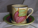 CLARICE CLIFF PASTEL MELON COFFEE CAN & SAUCER