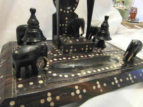 ANTIQUE ORIENTAL EBONY?  DESK TIDY WITH DECORATIVE ELEPHANTS & POCKET WATCH HOLDER. POSSIBLY MADE IN