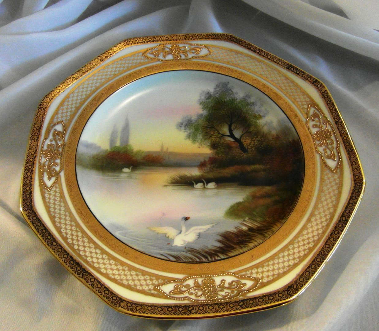 Beautiful old noritake gilded plate with swans on lake Beautiful plates