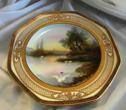 BEAUTIFUL OLD NORITAKE GILDED PLATE WITH SWANS ON LAKE  PATTERN